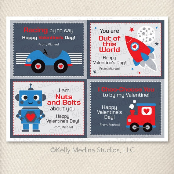 Items similar to Custom Printable Valentines Day Cards DIY Boy – Boy Valentines Cards