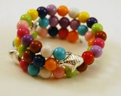 Children's Beaded Memory Wire Bracelet with Colorful Beads and 3 Silver Fishes