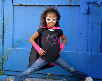 Childrens Superhero Basic 3 SET includes double sided cape-power cuffs-basic mask