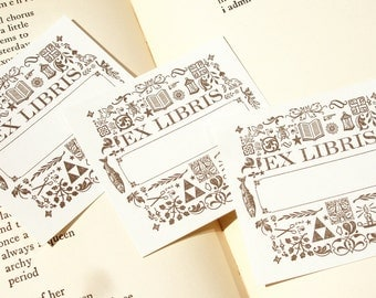 Ornaments - EX LIBRIS - Letterpress Bookplates - Set of 10