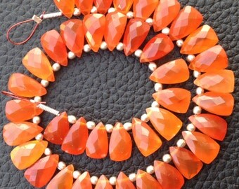 50 Pieces,AMAZING CARNELIAN Faceted Pyramid Shaped Briolettes, 10mm Long size,Calibrated Size,GORGEOUS