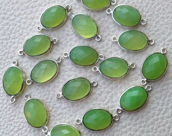 925 Sterling Silver, PREHNITE Green Chalcedony,Sterling Silver Connector, 20 Pieces of 14-16mm
