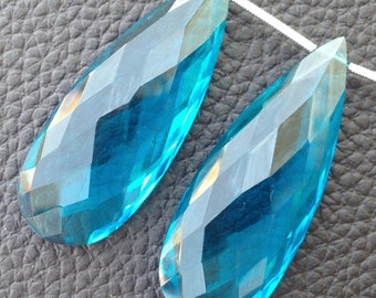 AMAZING Superb Amazing Matched Pair, 40x15mm Long, SWISS BLUE Quartz Elongated Faceted Pear pair.Low Price