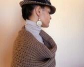 Knit Shrug - Knit Womens Shrug - NEW Spring Fashion Taupe Color Shrug Long Sleeved Shawl - READY to SHIP