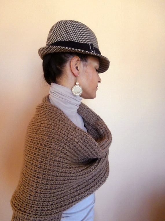 Knit Shrug - Knit Womens Shrug - NEW Spring Fashion Taupe Color Shrug Long Sleeved Shawl - READY to SHIP