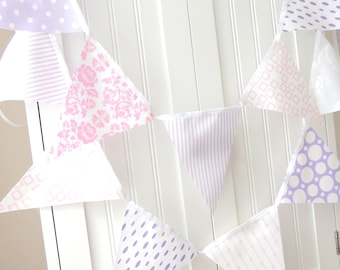 Girl Baby Shower Banner Bunting, Garland Fabric Pennants Flags, Pastel Purple, Pink, Birthday Party, Wedding, Photo Prop, Baby Nursery Decor