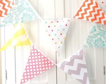 Birthday Bunting, Banner, Pennant Fabric Flags, Pink, Orange, Aqua, Yellow, Grey, Chevron, Polka Dot, Decor, Party Garland, Photo Shoot Prop
