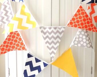Banner, Bunting, Fabric Pennant Flags, Orange, Grey, Navy, Yellow, Chevron, Polka Dot, Baby Boy Nursery Decor, Wedding, Birthday Garland
