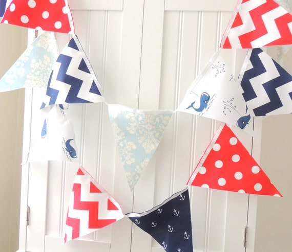 Items similar to nautical baby shower banner bunting for Nautical nursery fabric