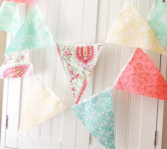 Fabric Bunting, Banner, 9 Pennant Flags, 4 Feet, Girl Baby Shower, Birthday Garland, Wedding, Pastels Yellow, Pink, Aqua, Mint, Photo Prop