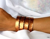 Copper tribal cuff, wide hammered bracelet, artisan modern metal jewelry