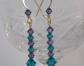 Gold Plated Blue Zircon and Lilac Swarovski Crystal Simple Earrings
