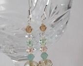 Swarovski Dangle Earrings, Crystal Dangle Earrings, Shabby Chic Style, Soft Colored Jewelry, Relaxing Tones, Drop Earrings