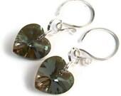 Swarovski Crystal 14mm Bronze Shade Sterling Silver Heart Dangle Earrings Spring Bling Summer Shine