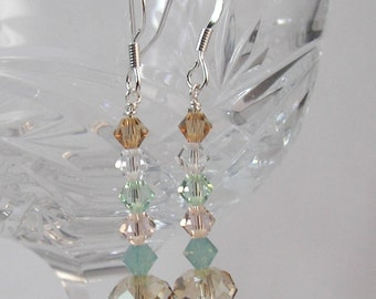 Swarovski Dangle Earrings, Crystal Dangle Earrings, Shabby Chic Style, Soft Colored Jewelry, Relaxing Tones, Drop Earrings