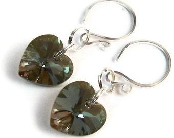 Dangle Heart Earrings, Heart Dangle Earrings, Swarovski Crystal Jewellry, Swarovski Crystal Earrings, Sterling Silver Earrings