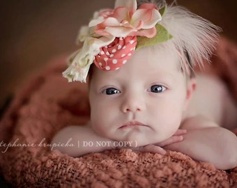 Prim and Posh- ruffle, rosette, silk flower and feather headband in coral peach green and ivory