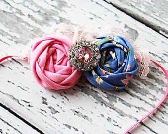 Bublegum Glamour -blue and pink double rosette with lace and rhinestone headband