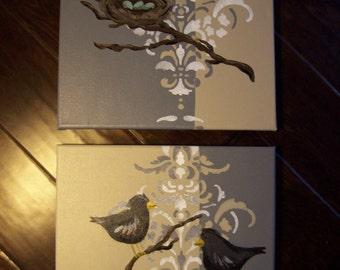 Grey & Ivory Bird and nest Pair