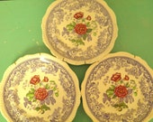 Spode Mayflower Vintage English Purple Periwinkle Lilac Transferware Plates with Pink Red Roses
