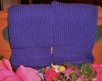 Two Large purple Pre-shrunk 100 percent Cotton Machine knit Dish Cloths...11 inches X 12 inches