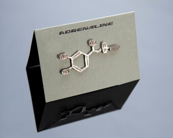 Adrenaline Chemical Structure Pin in Sterling Silver