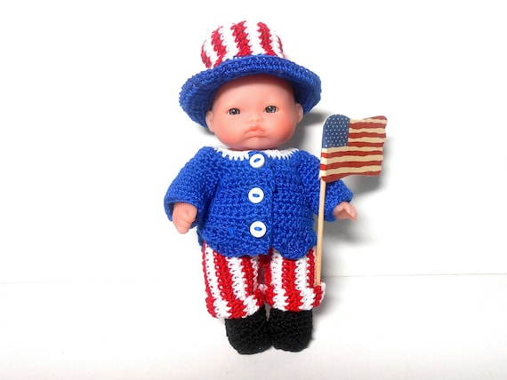 4th of July Doll, Independence Day Doll, 5 Inch Berenguer Lots to Love Doll, Red, White and Blue Doll