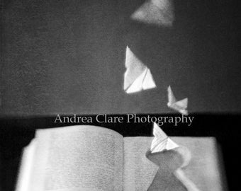 Surreal, Black and White, Book, Key Hole, Fine Art Photograph, Vintage, Butterflies, origami, biography, book lover, library, reader, photo