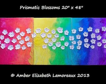 40% Off HUGE Original Impasto Painting 20 x  48 'Prismatic Blossoms' Amber Elizabeth Lamoreaux Rainbow Heavy Texture Flowers Sun