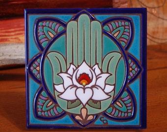 "6""x6"" Hand Glazed Decorative Tile Coaster Trivet Hamsa Hand Lotus Flower"