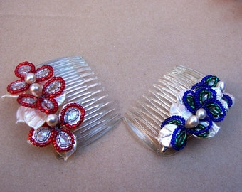 Vintage Hair Combs - 2 Venetian Glass Beads - Hair Accessories - Hair Slide - Hair Pin - Hair Pick  (AAK)