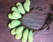 Mint Seafoam Green Double Stranded Briolette Bib Statement Necklace Antique Brass