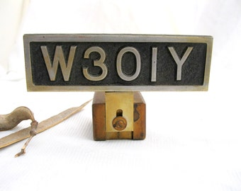 vintage call letters.ham radio.graphics.callsign.urban industrial.fathers gift.man gift.OOAK.brass.metal.WW II.paperweight.desk.tessiemay