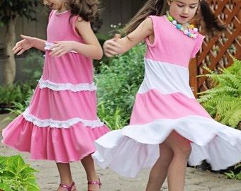 Knit Tiered Twirl Girls Dress pattern - PDF sewing pattern sizes 6-16 Cottage Girl