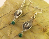 Country Cowgirl - 925 Sterling Silver & Malachite Earrings