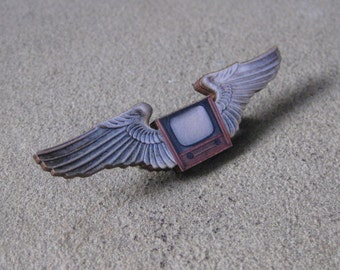 CLOSING SALE Vintage Style Flying TV Winged Wooden Ticket Brooch Pin