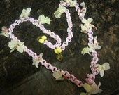 1920s Pink Celluoid &  Flower Necklace, Rare Find