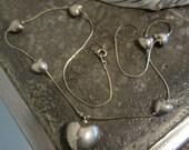 Vintage Korea Silver Puffed Hearts Necklace