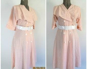 Shawl Collar Striped Dress Vintage 1980s Secretary Belted Daydress