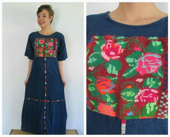 RESERVED for Laura G - Embroidered Boho Dress Vintage 1970s Ethnic Hippie Maxi Midi