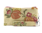 Floral wristlet clutch - shabby chic summer bag with orange flowers - limited edition small purse for women - 2 piece set - fabric purse