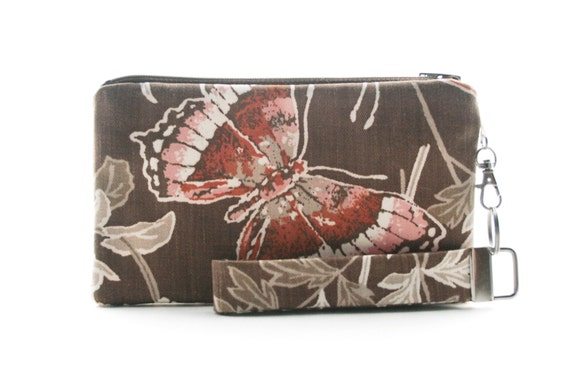 Butterfly small purse - brown clutch - womens bag - vintage fabric handbag - handmade purse - rustic wristlet - zipper pouch & key fob set