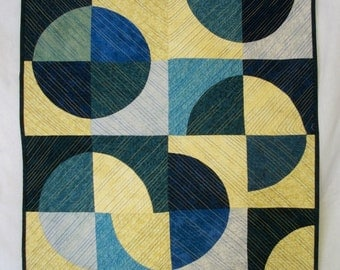 Moon Art Quilt Blue Yellow Blue Moon Quilted Wall Hanging Quiltsy Handmade FREE U.S. Shipping