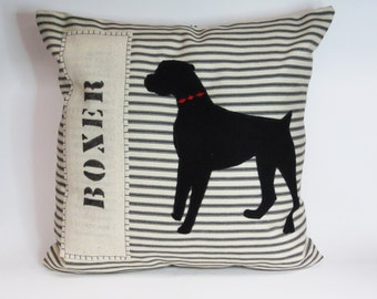 Boxer Dog Felt Pillow, Decorative Felt Boxer Silhouette Pillow, Stripe Decorative Pillow Dog, Custom Name Pillow, Home Decor Pillow Dog