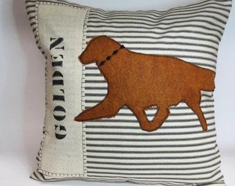 Felt Golden Retriever Pillow, decorative golden retriever felt pillow, home decor golden retriever throw pillow, decorative dog silhouette