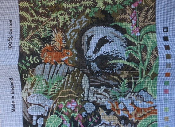 Vintage needlepoint canvas. Valerie Green, skunk, chipmunk, 15 inch square