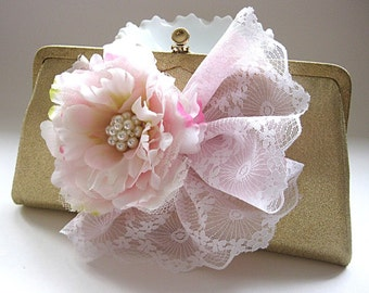 Pink and metallic gold vintage evening bag, embellished vintage clutch, pink flowers, gold and pink bridal purse, wedding, prom, party