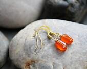Sunrise - Bright Orange Carnelian Earrings