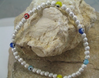 Multi Colored Evil Eye Bracelet, Silver Bead Bracelet, Simple Bracelet, Evil Eye Jewelry, Everyday Bracelet