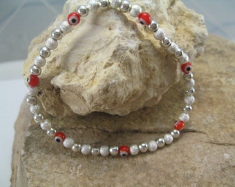 Red Evil Eye Bracelet, Silver Bead Bracelet, Evil Eye Stretch Bracelet, Stack Bracelets, Everyday jewelry